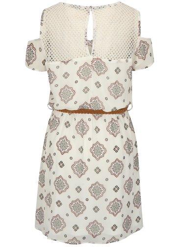 Biele vzorované šaty s opaskom a prestrihmi na ramenách ONLY Zoe
