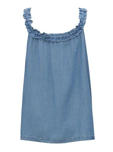 Modrý top s volánmi na ramienkach VILA Jazzy