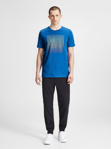 Tricou slim fit albastru cu imprimeu Jack & Jones Flyn