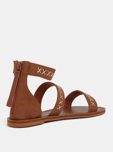 Hnědé sandály s prošívaným vzorem Roxy Natalie