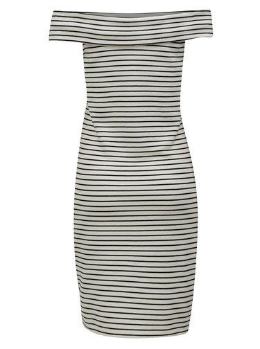 Čierno-krémové pruhované šaty s odhalenými ramenami VILA Cone