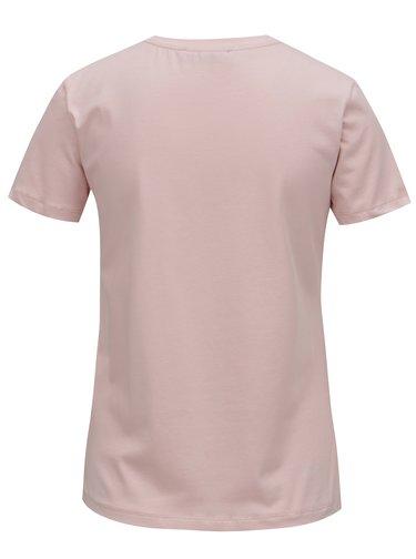 Tricou roz cu print argintiu Fornarina Cara 1