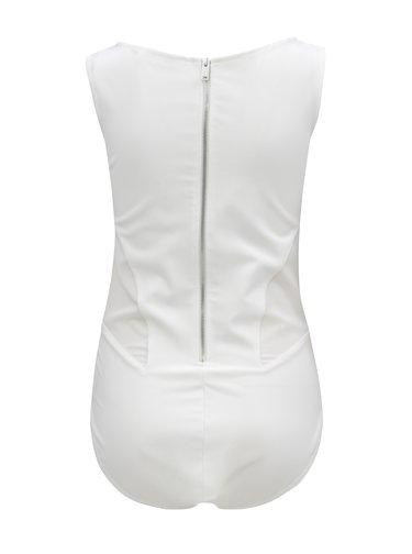 Body alb cu detalii din plasa Alexandra Ghiorghie Star