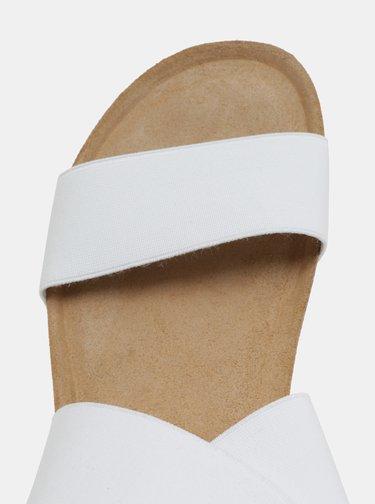 Biele sandále na kline s elastickými pásikmi OJJU