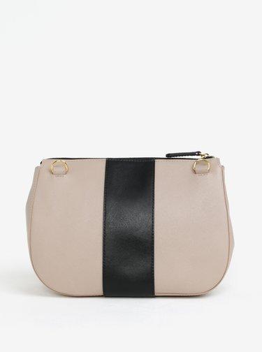 Čierno-béžová kožená crossbody kabelka ELEGA Dana