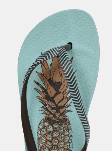 Papuci flip-flop verde mentol cu model de ananasi Ipanema Kirei