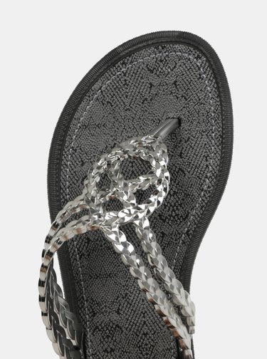 Papuci flip-flop argintiu si negru Grendha Riviera