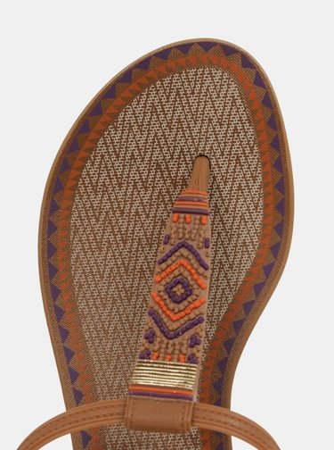 Sandale maro cu model aztec Grendha Acai