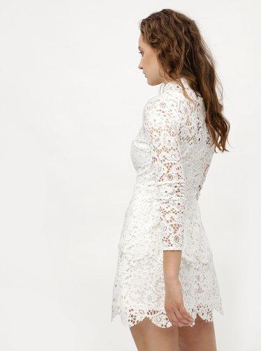 Biele čipkované šaty s dlhým rukávom MISSGUIDED