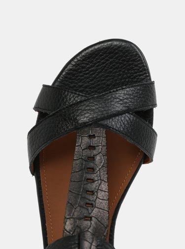 Černé kožené sandály s páskem na nártu Selected Femme Hannah