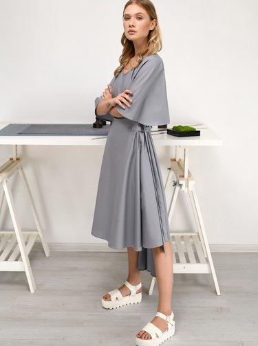 Šedé šaty se zvonovými rukávy THAÏS & STRÖE