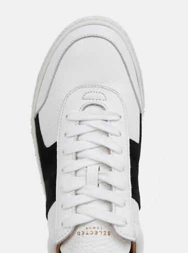 Biele kožené tenisky so semišovými detailmi Selected Femme Dina