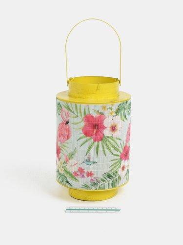 Lanterna metalica galbena cu bambus si motiv flamingo Kaemingk