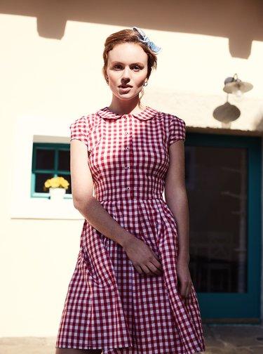 Červené kockované košeľové šaty Bohemian Tailors Eldora