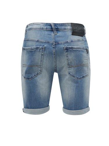 Modré pánske rifľové kraťasy s vyšúchaným efektom Garcia Jeans