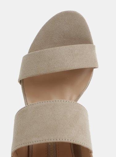 Béžové sandálky v semišovej úprave na podpätku Dorothy Perkins