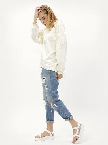 Bluza sport crem cu franjuri Moss Copenhagen