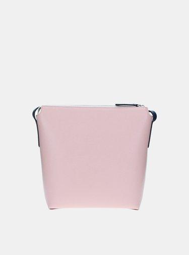Ružovo-biela kožená kabelka ELEGA