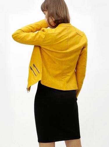 Horčicová koženková bunda ONLY Ava
