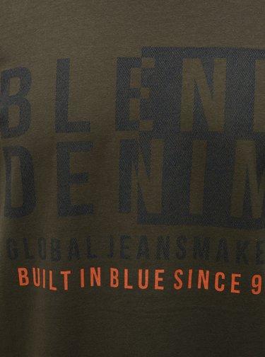 Kaki regular tričko s krátkym rukávom a potlačou Blend