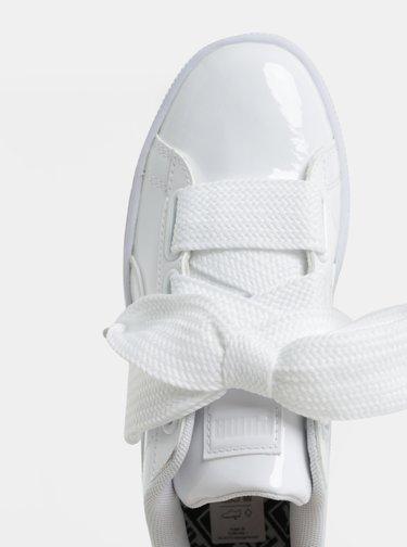 Biele dámske lesklé tenisky so širokými šnúrkami Puma Basket Heart