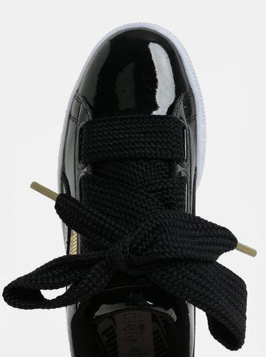 Čierne dámske lesklé tenisky so širokým šnúrkami Puma Basket Heart