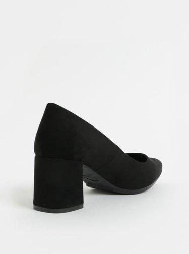 Pantofi negri din piele intoarsa cu toc stabil OJJU