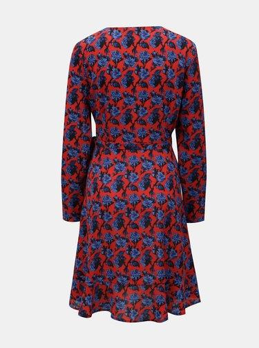 Modro-červené kvetované zavinovacie šaty s volánom Blendshe Trophy