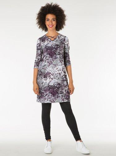 Fialovo–sivé vzorované šaty s pásikmi v dekolte Yest