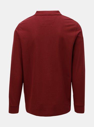 Vínové basic polo tričko s dlhým rukávom Fynch-Hatton