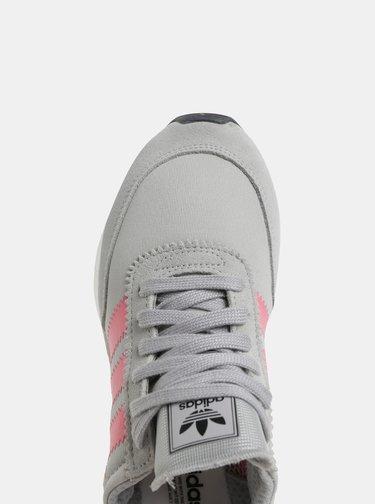 Ružovo-sivé dámske tenisky so semišovými detailmi adidas Originals Iniki Runner