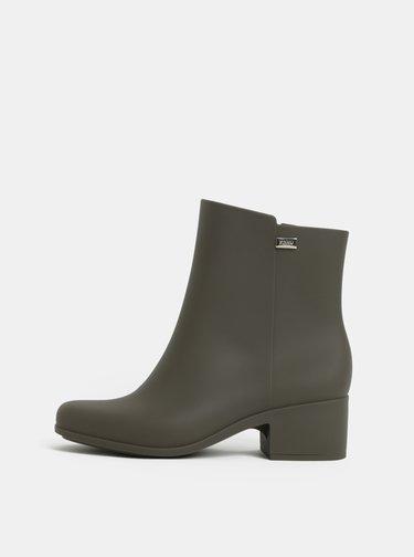 Khaki kotníkové boty na nízkém podpatku Zaxy Close Boot
