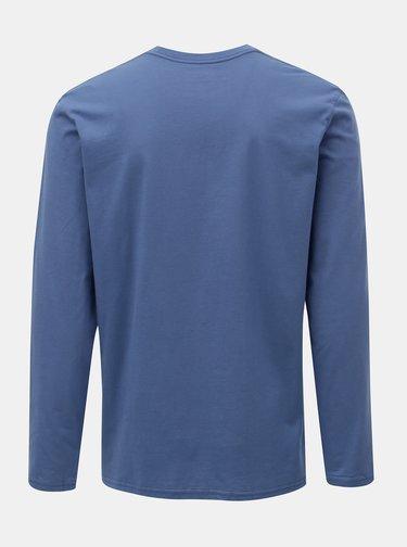 Tricou barbatesc regular fit albastru cu maneci lungi si print Quiksilver
