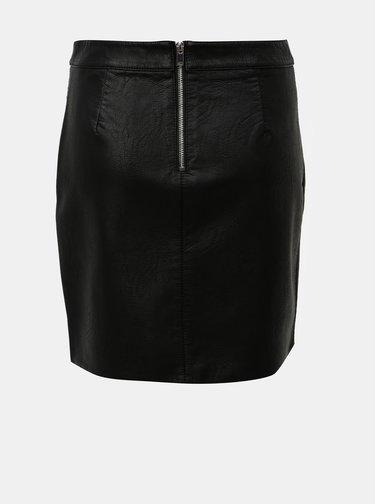 Černá koženková minisukně s kapsami Dorothy Perkins
