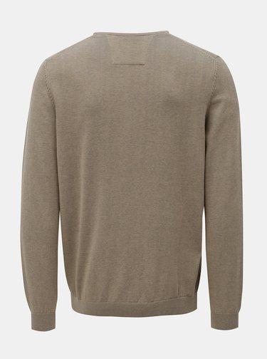 Sivo-béžový pánsky tenký sveter s okrúhlym výstrihom s.Oliver
