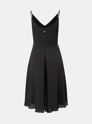 Černé šaty na ramínka Calvin Klein Jeans