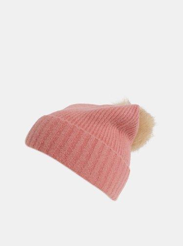 Caciula roz cu pompom si amestec de lana Pieces Diana