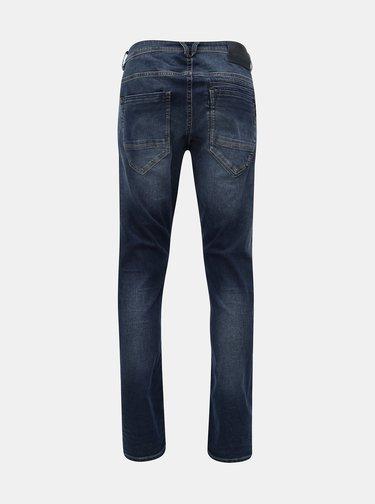 Blugi barbatesti albastri tapered fit din denim cu aspect prespalat Garcia Jeans