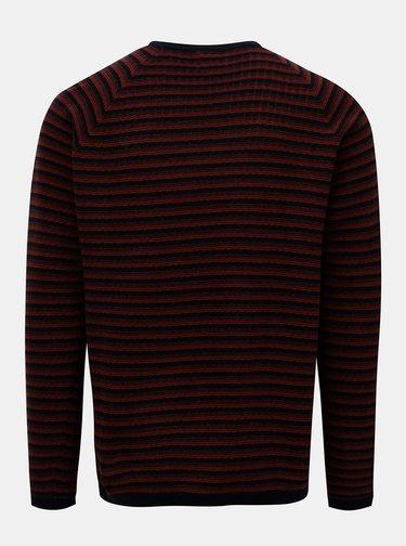 Čierno-hnedý pánsky pruhovaný sveter Garcia Jeans