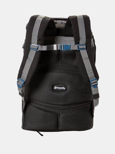 Čierny batoh s koženkovými detailmi a plášťom proti dažďu Meatfly 26 l