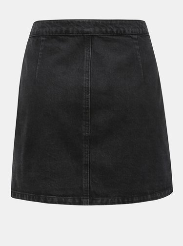 Fusta neagra din denim suprapusa Miss Selfridge