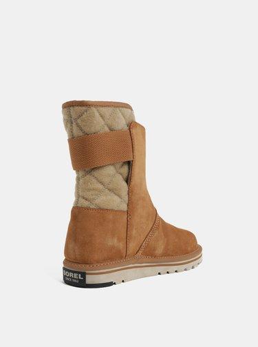 Svetlohnedé dámske semišové zimné topánky SOREL Newbie