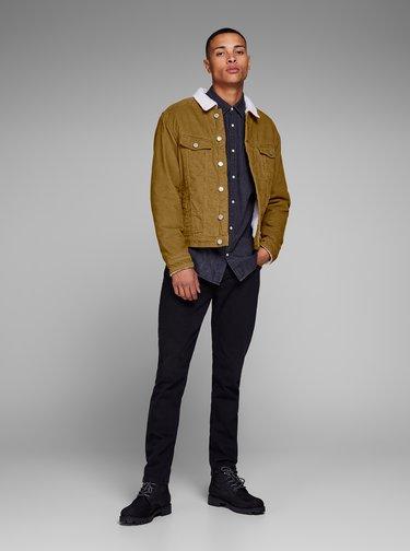 Jacheta maro din material reiat cu blana artificiala Jack & Jones Alvin
