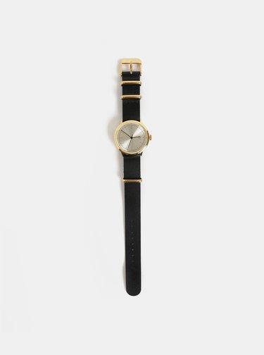 Dámske hodinky s čiernym koženým remienkom CHPO Harold Mini Gold
