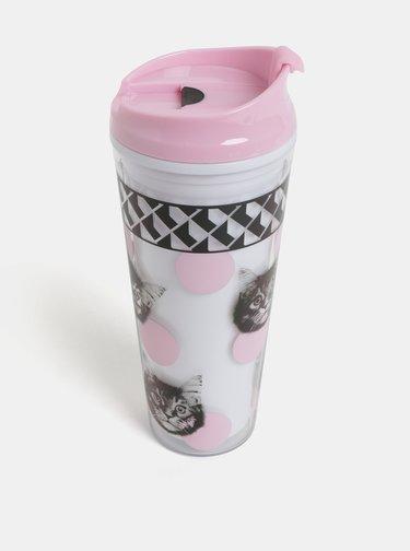 Cana de calatorie roz-alb cu motiv pisici Mustard