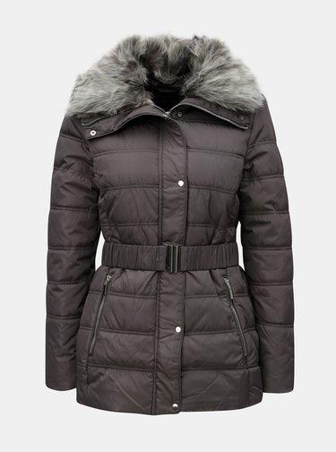 bf899cee885 Šedá prošívaná bunda s umělým kožíškem Dorothy Perkins