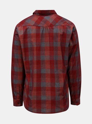 Červená pánska kockovaná menčestrová košeľa BUSHMAN Zap