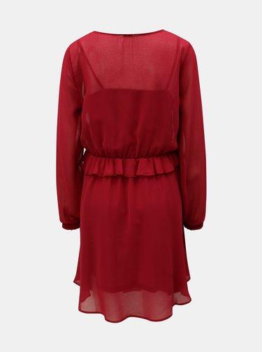 Vínové šaty s volánom a gumou v páse VERO MODA Becca