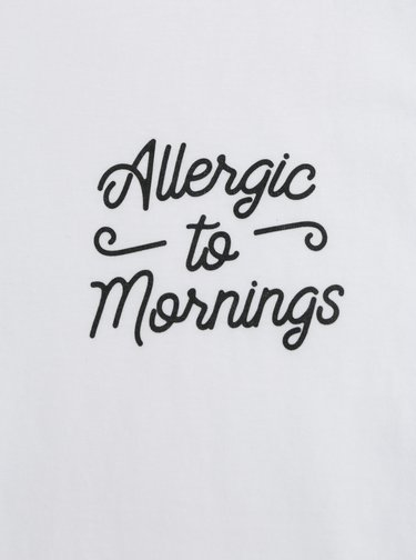 Tricou de dama alb cu imprimeu ZOOT Original Allergic to mornings