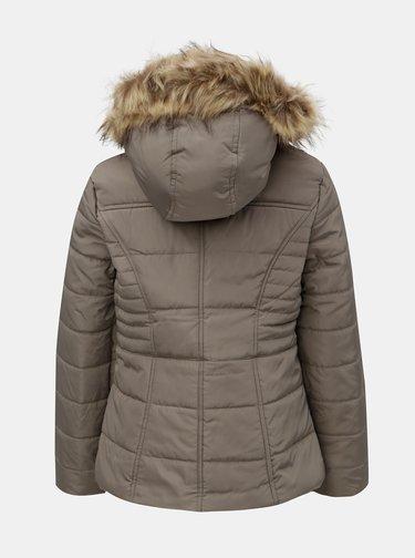 Béžová zimní prošívaná bunda s umělým kožíškem M&Co Petite